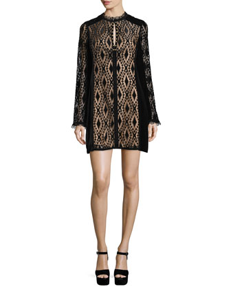 Long-Sleeve Lace Shift Dress