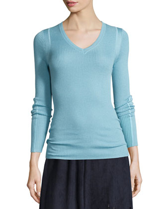 Remmi Long-Sleeve Ribbed Sweater & Lorie Pleated A-Line Skirt