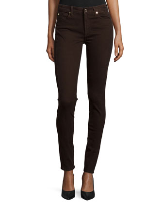 Mid-Rise Skinny Jeans, Dark Chocolate