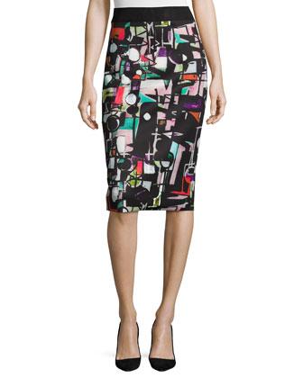 Cubist-Print Midi Skirt