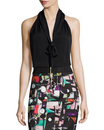 Tassel-Tie Silk Halter Blouse