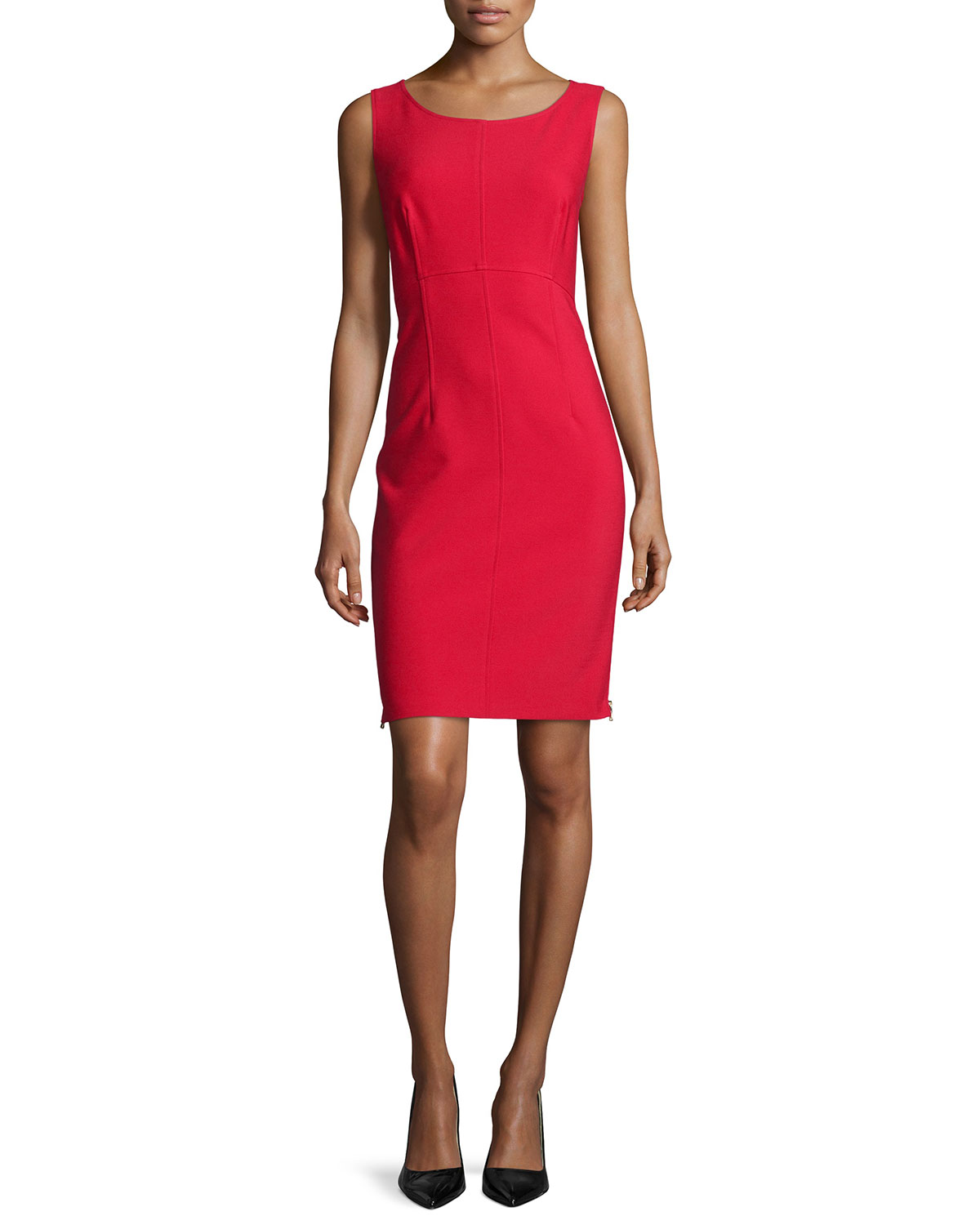 Sleeveless Sheath Dress W/ Side Zips, Size: 0, Red - Milly