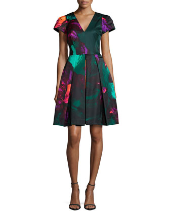 Delphina Printed Pleated Cocktail Dress