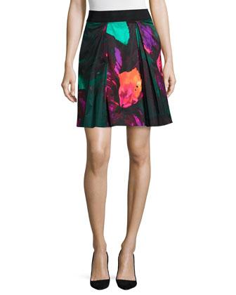 Duchess Satin Cap-Sleeve Top & Katie Floral-Print Skirt