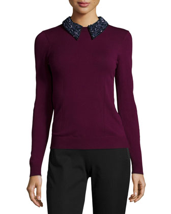 Beaded Tuxedo Collar Sweater