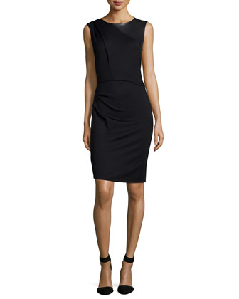 Sleeveless Jewel-Neck Combo Dress, Black