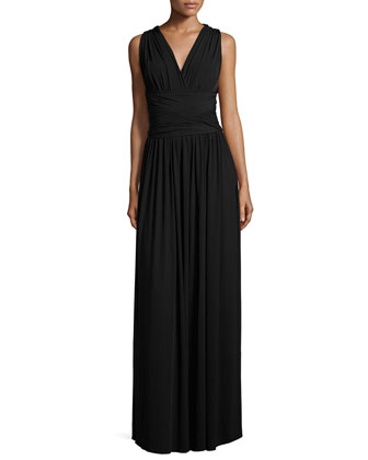 Sleeveless Crisscross-Back Evening Gown, Black