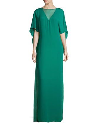 Illusion-Neck Caftan-Style Evening Gown, Emerald