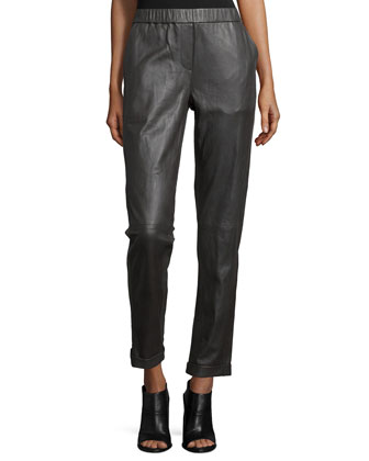 Slim-Leg Cropped Pants, Charcoal