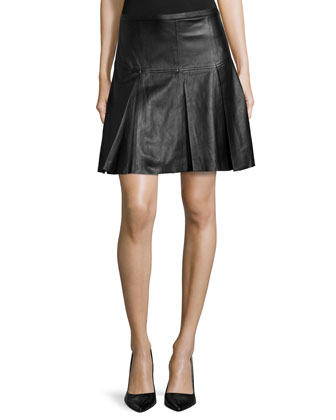 Pleated Leather A-Line Skirt, Black