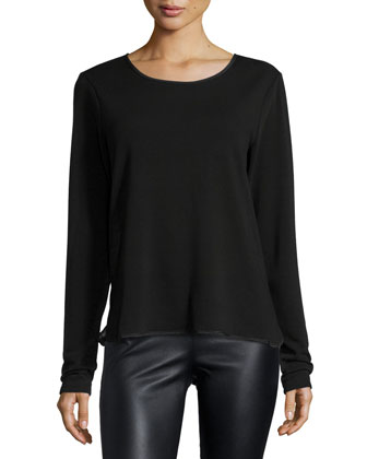 Long-Sleeve Round-Neck Top, Black