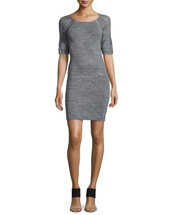 3/4-Sleeve Round-Neck Dress, Heather Gray