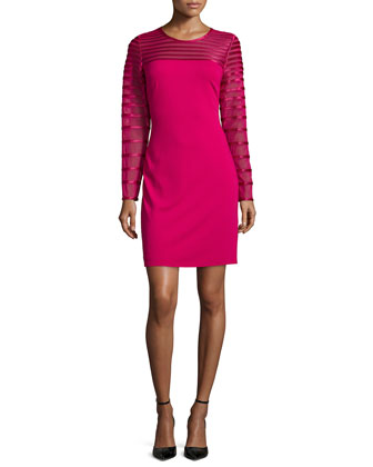 Long-Sleeve Round-Neck Cocktail Dress, Raspberry