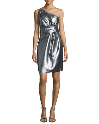 One-Shoulder Pleated Cocktail Dress, Silver