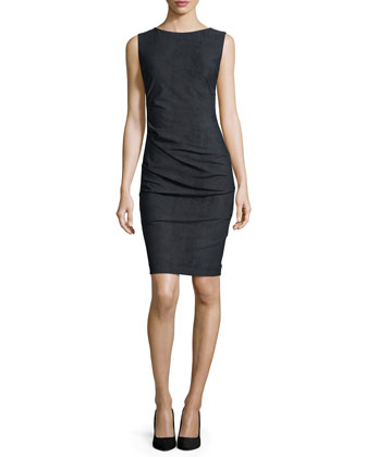 Sleeveless Body-Conscious Ruched Sheath Dress