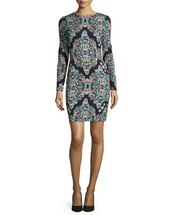 Long-Sleeve Crystal-Print Sheath Dress