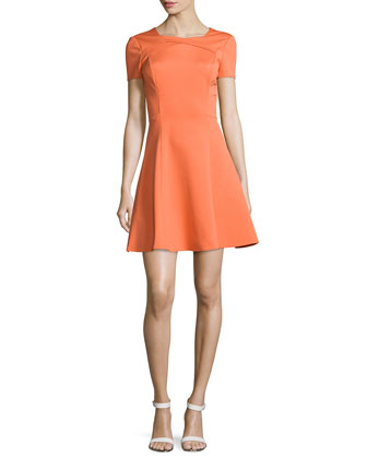 Short-Sleeve Fit-&-Flare Dress, Flame