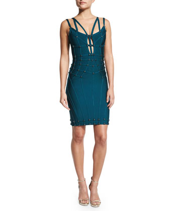 Sleeveless Cutout Bandage Dress, Slate Teal