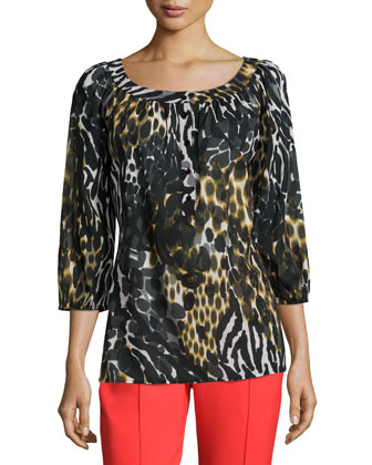 3/4-Sleeve Leopard-Print Blouse