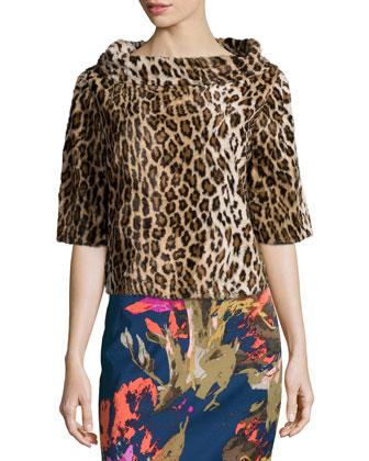 Leopard-Print Half-Sleeve Top