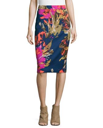 Miki Floral-Print Pencil Skirt
