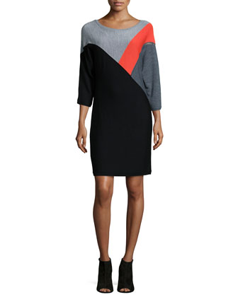 3/4-Sleeve Wool Colorblock Sweaterdress, Multicolor