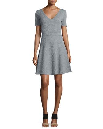Textured V-Neck Sweaterdress, Heather Gray