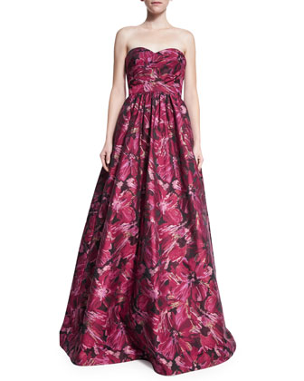 Strapless Floral Brocade Ball Gown, Red