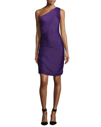 One-Shoulder Ruched Cocktail Dress, Purple
