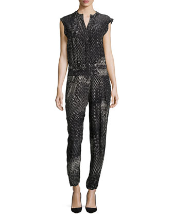 Cap-Sleeve Split-Neck Jumpsuit, Black/White