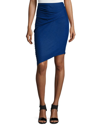 Pencil Skirt W/Asymmetric Hem, Indigo