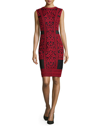 Crewneck Lace Cocktail Sheath Dress