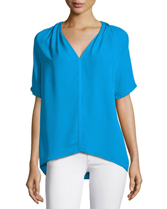 Short-Sleeve V-Neck Top, Lagoon