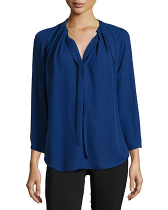 Long-Sleeve Self-Tie Top, Indigo