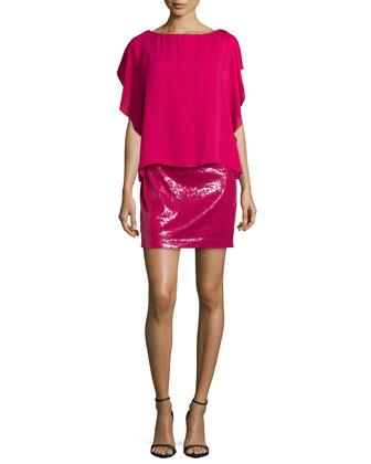 Flutter-Sleeve Cocktail Dress, Raspberry