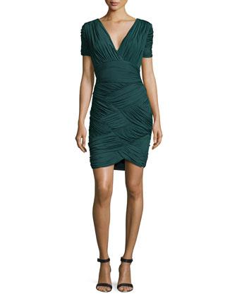 Short-Sleeve Basket-Weave Cocktail Dress, Moss