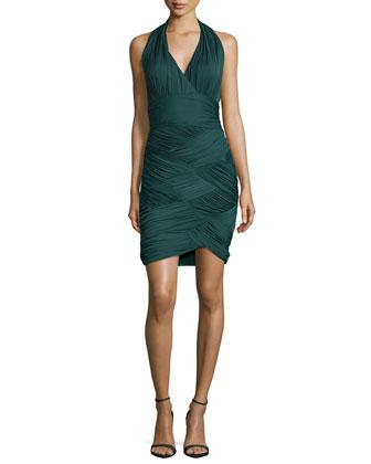 Halter-Neck Basketweave Cocktail Dress, Moss