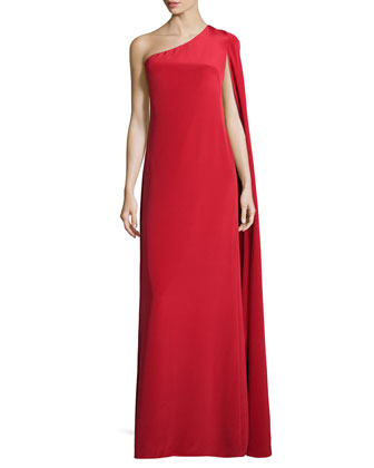 One-Shoulder Crepe Gown, Persimmon