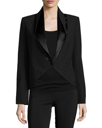 Long-Sleeve Fitted Jacket, Black