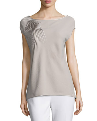Embroidered Cap-Sleeve Top, Stone