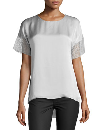 Short-Sleeve Round-Neck Top, Stone Gray
