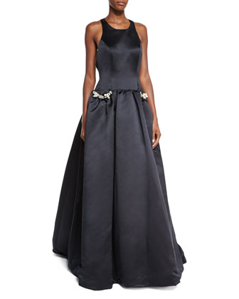 Sleeveless Ball Gown W/ Jeweled Pockets