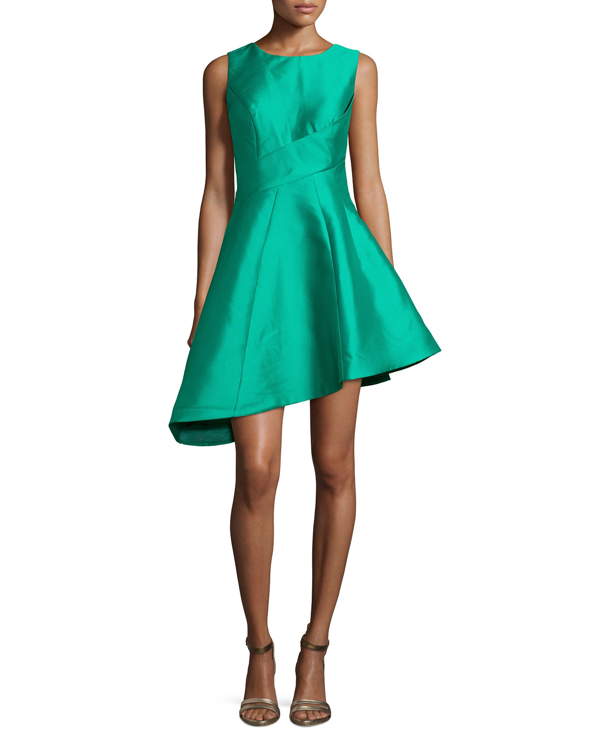 Sleeveless Asymmetric Cocktail Dress, Size: 6, Green - Jovani