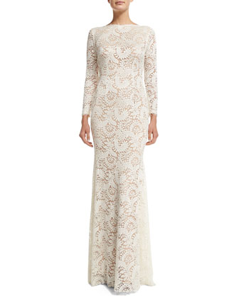 Long-Sleeve Lace Mermaid Gown