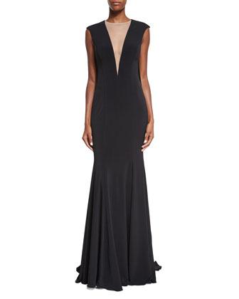 Sleeveless Fringe-Back Mermaid Gown