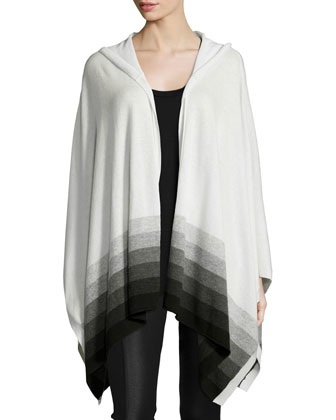 Hooded Ombre Striped Cashmere Poncho