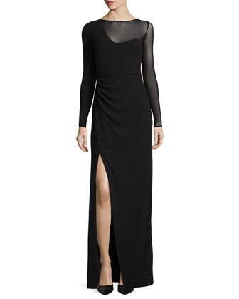 Long-Sleeve High-Slit Evening Gown, Black