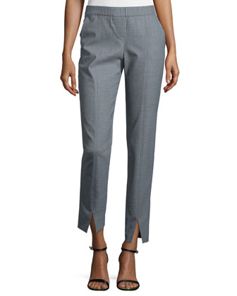 Mid-Rise Cropped Pants, Heather Gray
