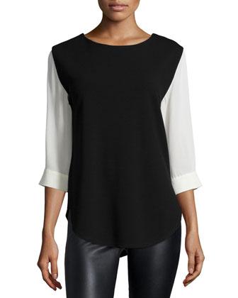 3/4-Sleeve Colorblock Top, Black/Cream