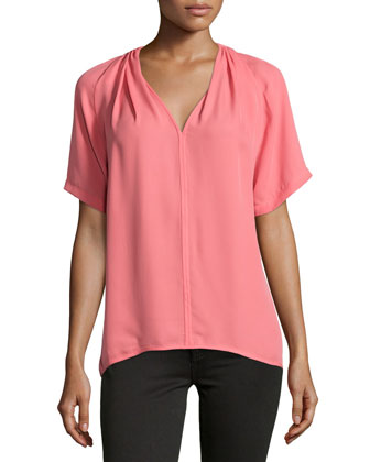 Short-Sleeve V-Neck Top, Guava
